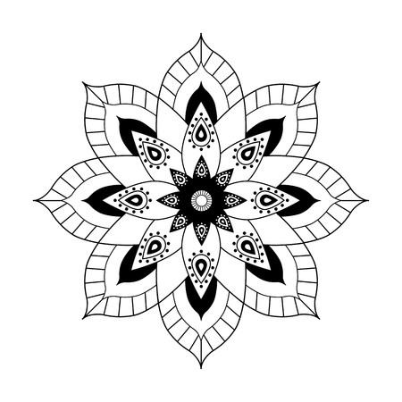 black mandala ethnic indian on a white background vector.
