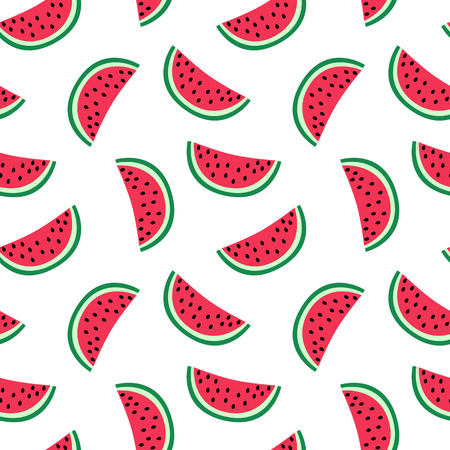 slice of red watermelon on a white background pattern summer sweet seamless vector.