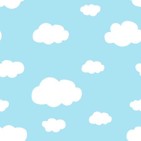 light blue sky white clouds pattern seamless vector.