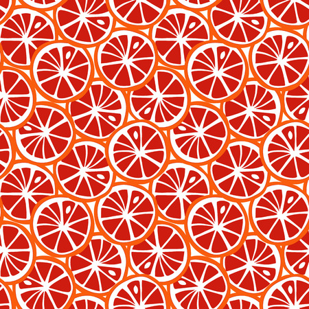 fruit orange and red grapefruit citrus tropical summer pattern seamless vector.