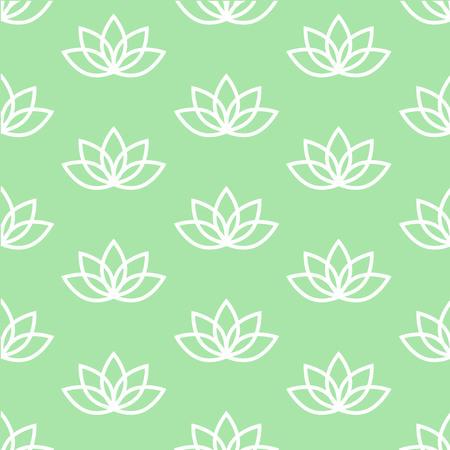 white lotus on a light green background pastel zen pattern seamless vector. Vettoriali