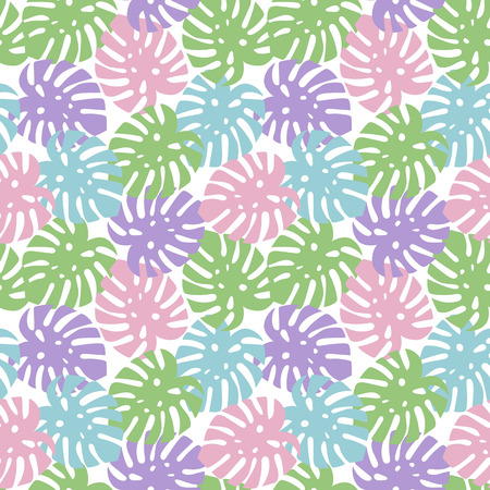 monstera purple, light green, pink and blue leaves tropical summer paradise pattern on a white background seamless vector. Vettoriali