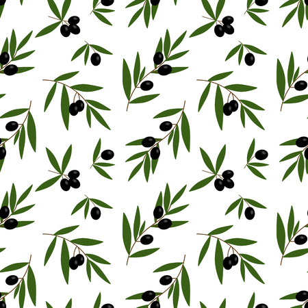 black olives branches with green leaves oil pattern on a white background seamless vector.