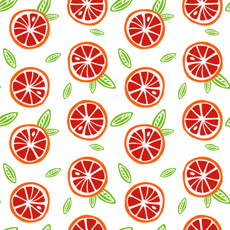 fruit orange and red grapefruit with green leaves on a white background pattern seamless vector. Vettoriali