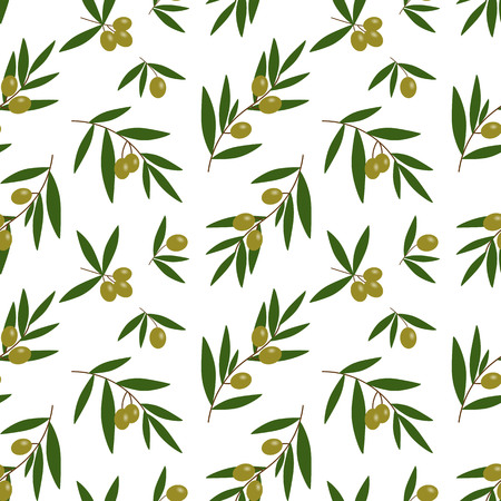 green olives branches with green leaves oil pattern on a white background seamless vector.