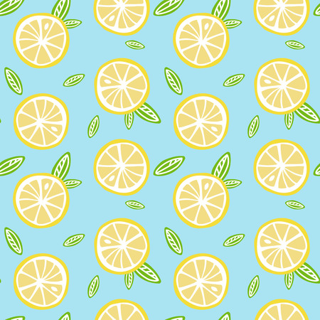 fruit lemon with green leaves on a light blue background pattern seamless vector.
