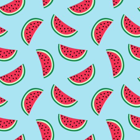 slice of red watermelon on a blue background pattern summer sweet seamless vector.