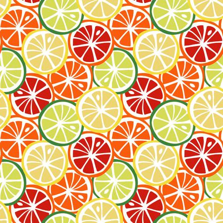 fruit yellow lemon green lime orange red grapefruit citrus tropical summer pattern seamless vector.