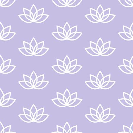 white lotus on a light purple background pastel zen pattern seamless vector.