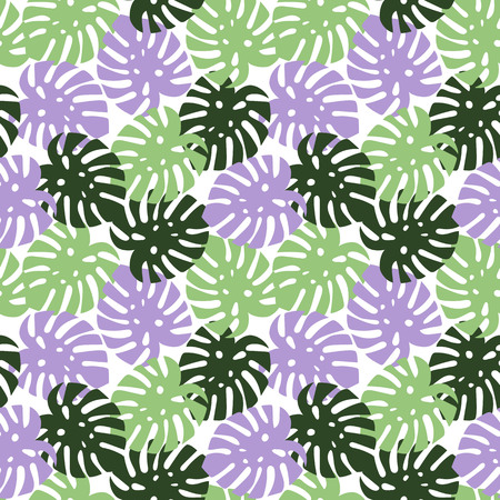 monstera purple, light green and dark green leaves tropical summer paradise pattern on a white background seamless vector. Vettoriali