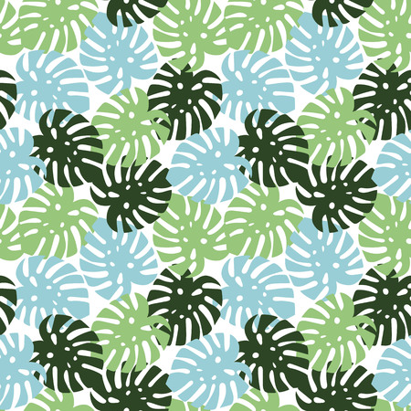 monstera blue, light green and dark green leaves tropical summer paradise pattern on a white background seamless vector.