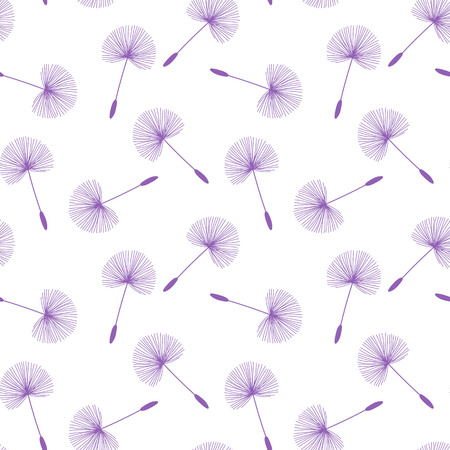 purple dandelions seed floral fluff pattern on a white background seamless vector.