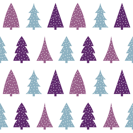 blue pink purple christmas tree on a white background pattern seamless vector.