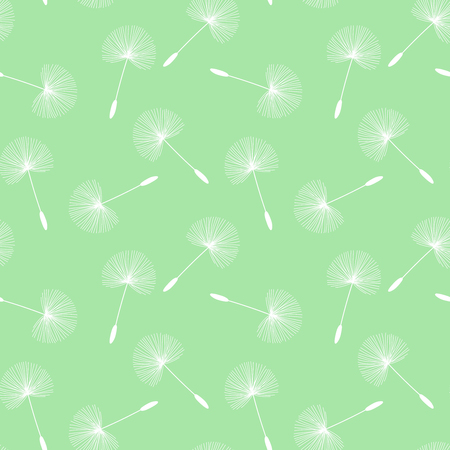 white dandelions seed floral fluff pattern on a light green background seamless vector.