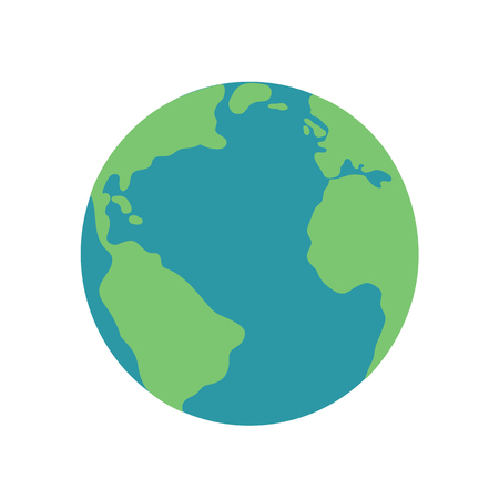 planet earth map globe green blue illustration icon vector.