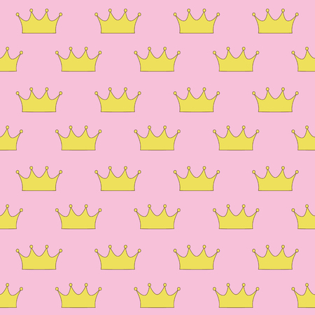 gold crown princess or queen on pink background seamless pattern vector. Vettoriali