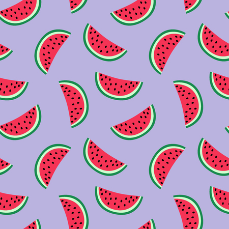 slice of red watermelon on a purple background pattern summer sweet seamless vector.