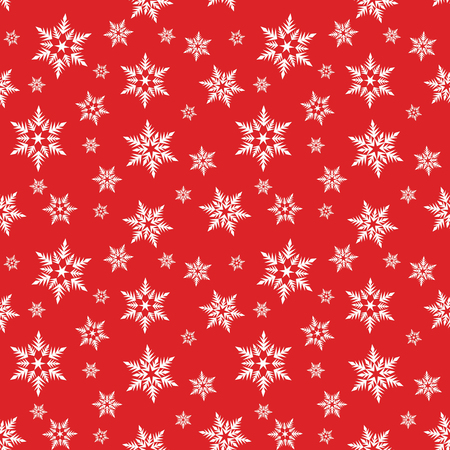 white snowflakes snow on red background winter christmas pattern seamless vector.