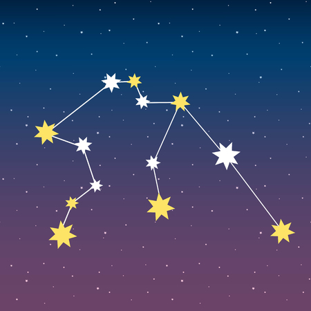 constellation Aquarius zodiac horoscope astrology stars night space blue and purple sky illustration vector.