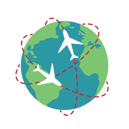 planet Earth airplane route path globe travel map illustration vector.