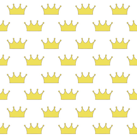 gold crown princess or queen on a white background seamless pattern vector.