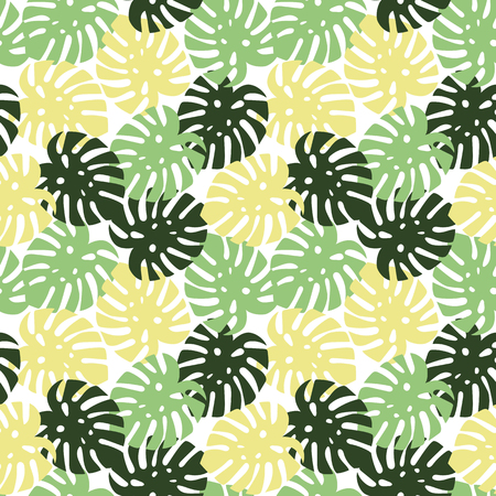 monstera yellow, light green and dark green leaves tropical summer paradise pattern on a white background seamless vector. Vettoriali