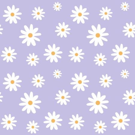 chamomile on a light purple pastel background pattern seamless vector.