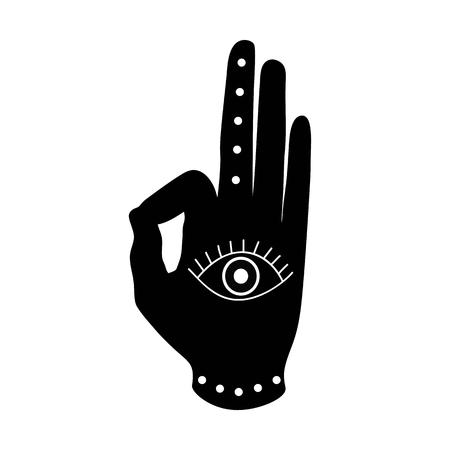 black hand with eye mudra buddhism hinduism symbol vector.