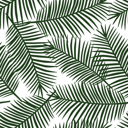 green palm leaves on a white background exotic tropical hawaii seamless pattern vector.