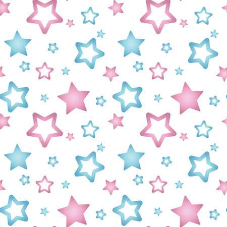 pink and blue nacre stars on a white background pattern seamless vector.