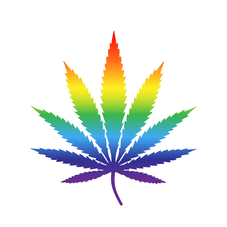 iridescent cannabis leaf drug marijuana herb rainbow drug red orange yellow green blue purple icon vector.