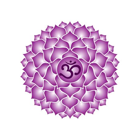 sahasrara chakra icon symbol purple esoteric yoga indian buddhism hinduism vector. Vettoriali