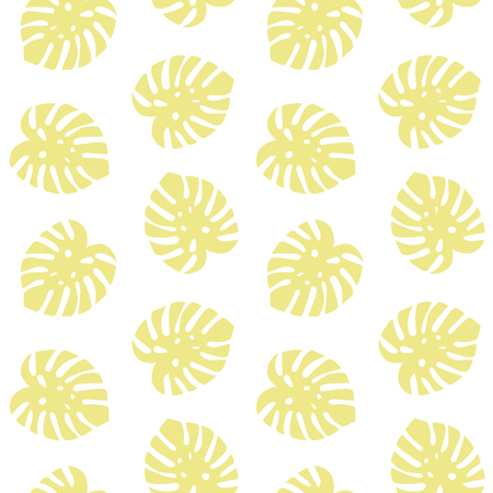 monstera yellow leaves tropical summer paradise pattern on a white background seamless vector. Vettoriali