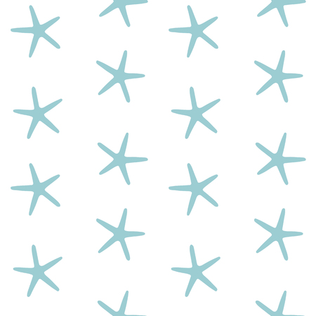blue sea stars ocean starfish on a white background pattern seamless vector.