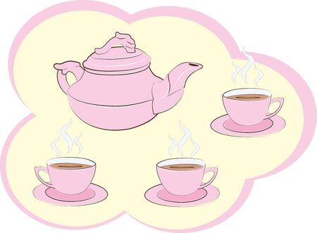 Pink tea set with tea or coffee inside the cups with cloud shaped frame. Çizim