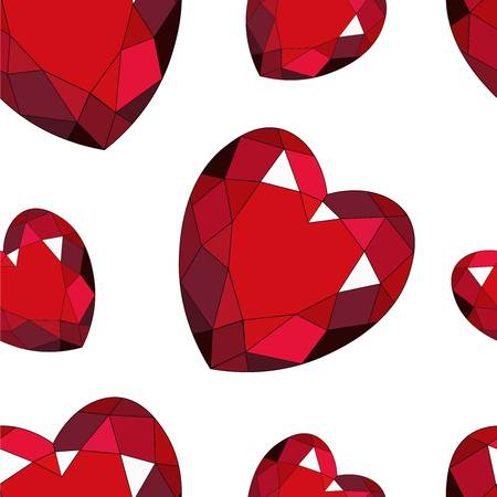 Red heart brilliant seamless pattern