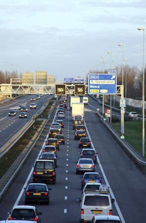 Traffic jam on the famous highway A9 near Amsterdam in the Netherlands Stock Photo
