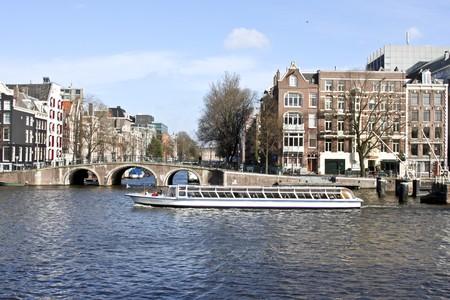 Cityscenic uit Amsterdam in Nederland Stockfoto