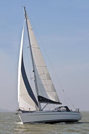 Sailing yacht sailing on the IJsselmeer in the Netherlands