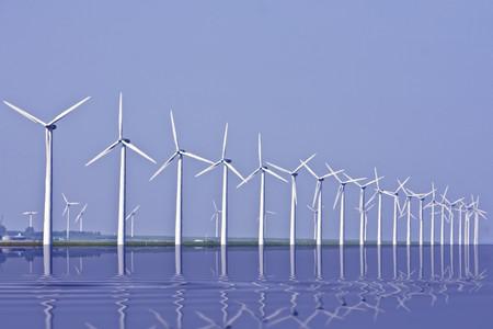 Windturbines along the IJsselmeer in the Netherlands