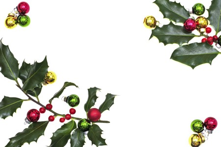 hollyberry:  Holly berry with christmas balls isolated on white