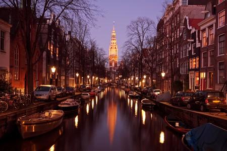 Zuiderkerk in Amsterdam Netherlands at twilight Stock Photo