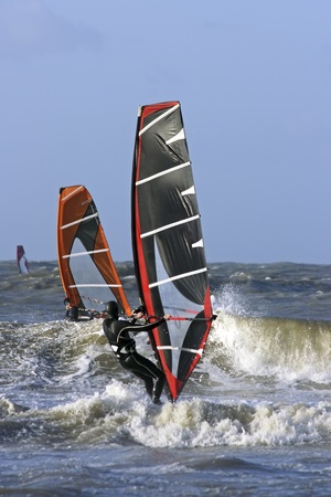 windsurfers: Windsurfers at the north sea in the Netherlands surfing