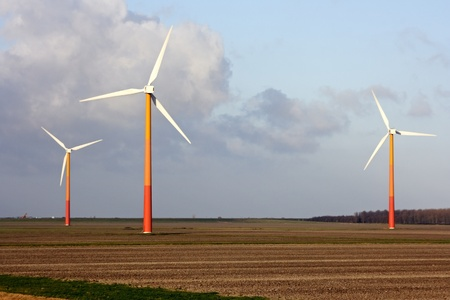Windmills in the countryside in the Netherlands photo