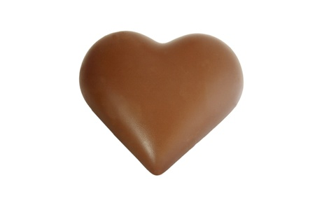 Sweet Heart from chocolate isolated on white
