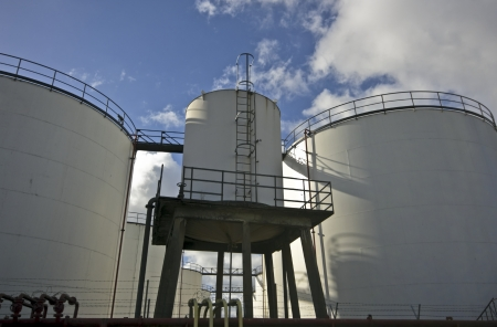 Oil barrels in industrial environment near Amsterdam the Netherlands photo