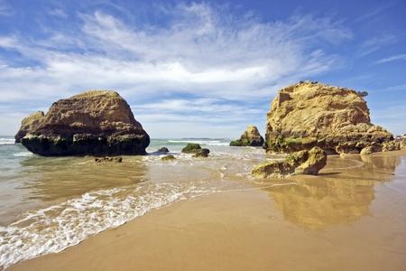 rocha: Rocks and ocean at Praia da Rocha in Portugal