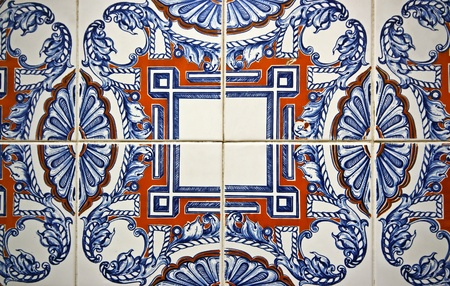 Tile pattern in blue, yellow and white in Portugal  Stock Photo - 12344789