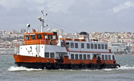 tagus: Ferry on the river Tagus in Lisbon Portugal