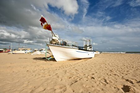 armacao: Boat at the beach in Armacao de Pera Portugal